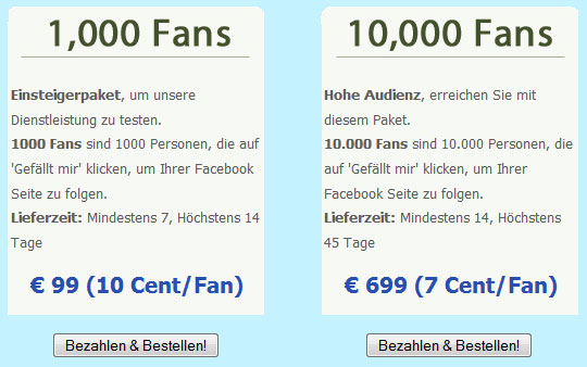 Facebook-Fans kaufen