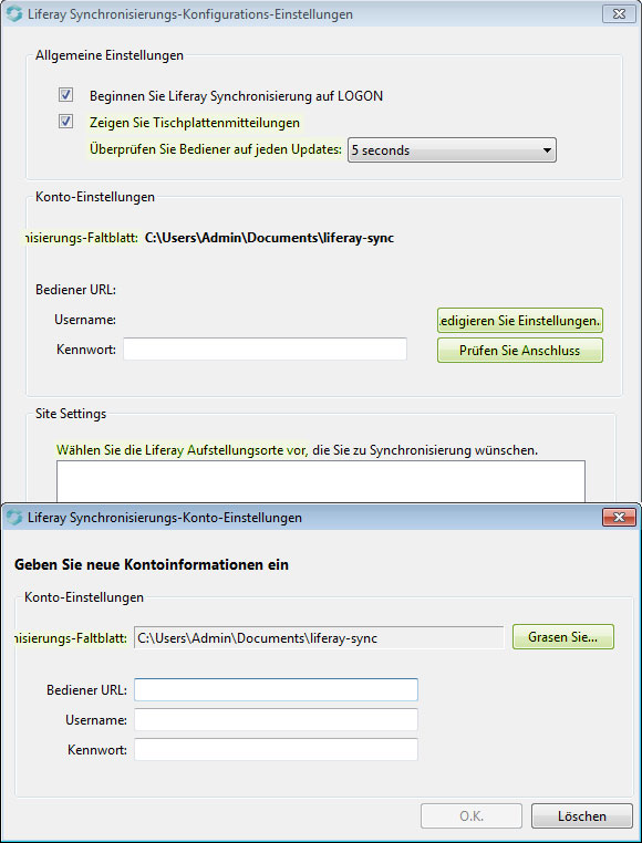 Liferay Sync Beta Eingabefenster