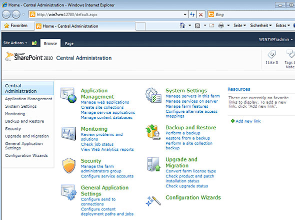 Sharepoint Server 2010 - Central Administration