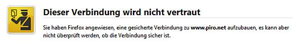 piro.net-Zertifikatwarnung