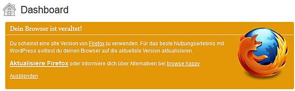 """Wordpress-Meldung: """"Dein Browser ist veraltet"""""""